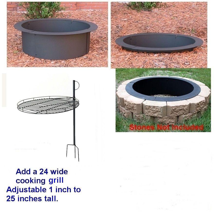 4 Pc Diy Round Steel Fire Pit Ring Rim Kit 27 30 36 Inch Heavy Duty 2 0 Mm Steel Fire Pit Steel Fire Pit Ring Fire Pit