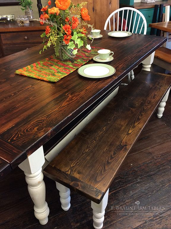 Reclaimed Yellow Pine Barn Wood Table And Bench Dark Tudor With Antiqued White Turned