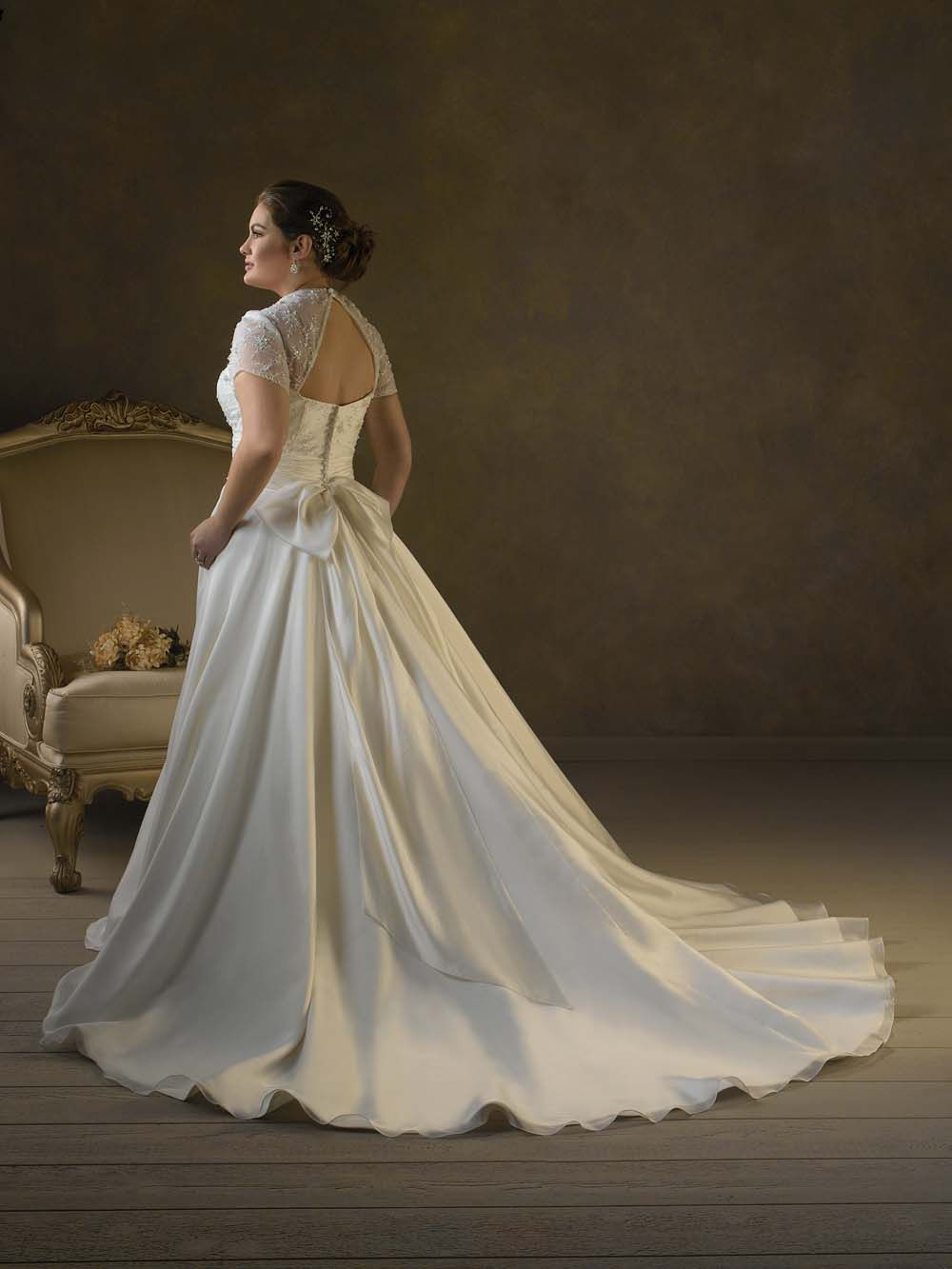 Plus size wedding dresses with sleeves sleeves lacing pleated