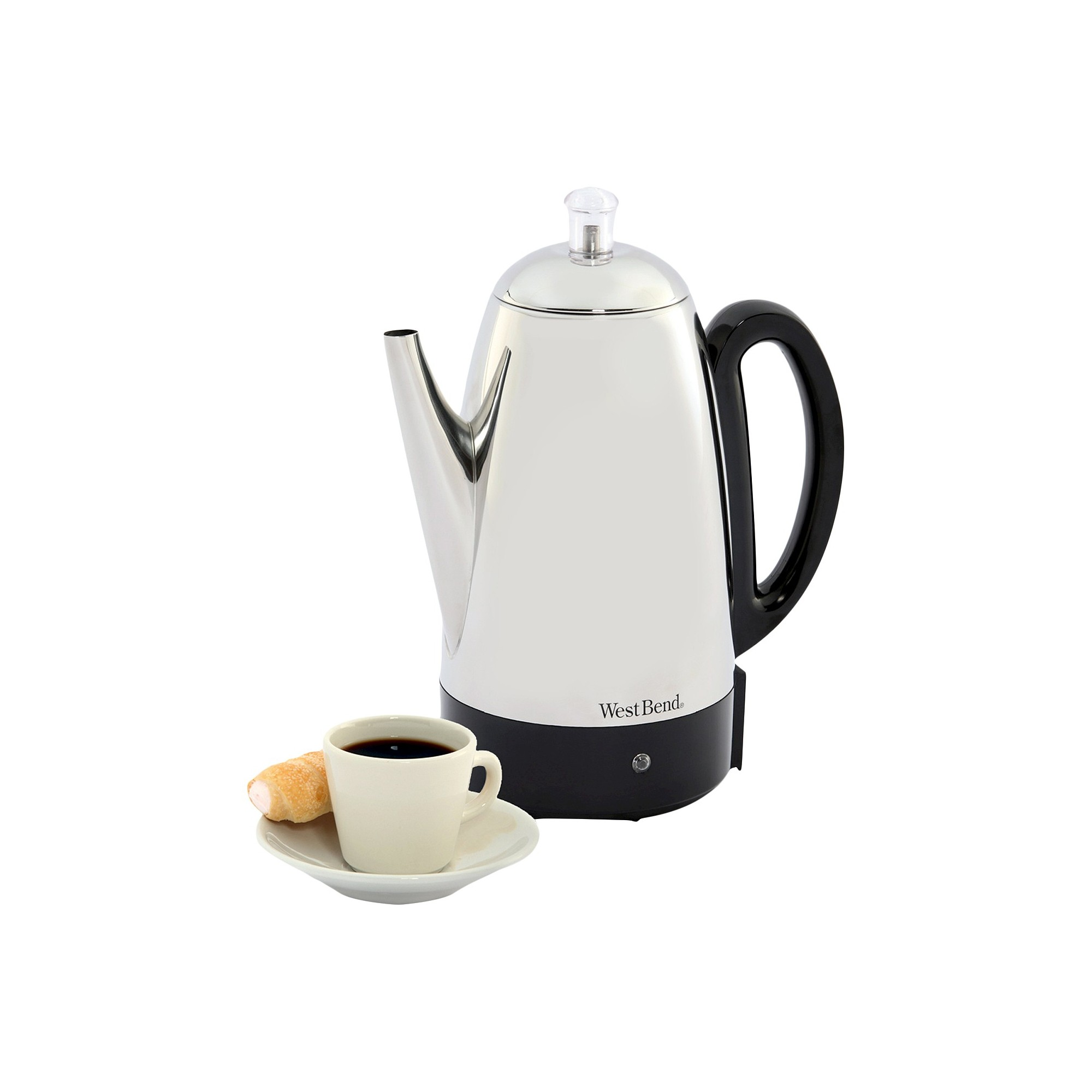 West Bend 12 Cup Coffee Percolator, Silver Black West