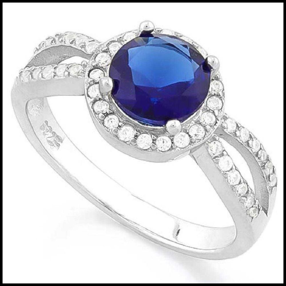 1 Ct Blue Sapphire Marquise Ring .925 Sterling Silver
