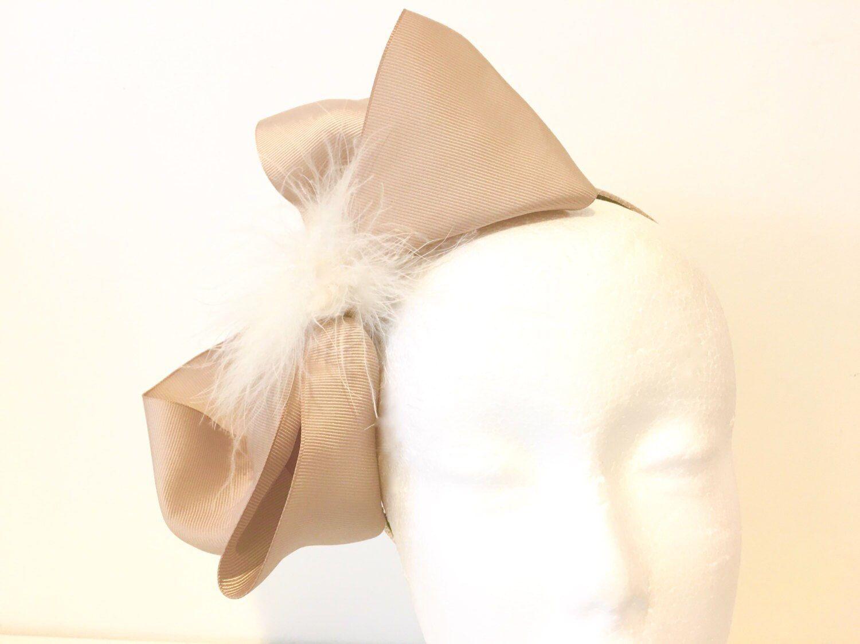 Pleasing Ivory Pearl And Beige Hair Bow Fascinator Headband Tan Cream Hair Hairstyle Inspiration Daily Dogsangcom