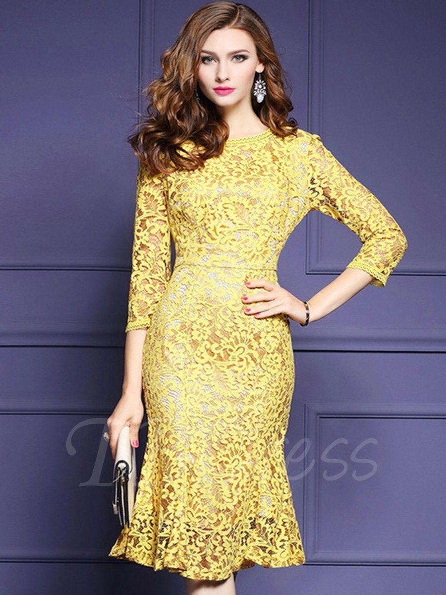 Tbdress.com offers high quality Yellow Fishtail Womens Lace