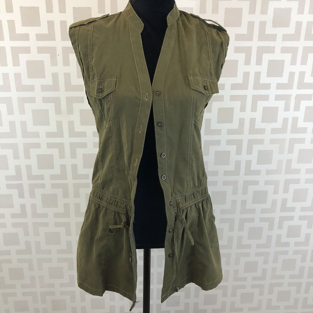 9761dbda30251 Mine Womens M Olive Green casual Utility Sleeveless Military Tunic Vest Top   Mine  Blouse  Casual