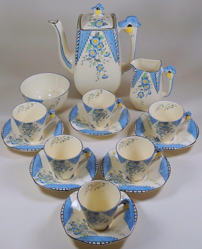 Burleigh Art Deco MAYTIME 15 Piece Coffee Set inc Pot