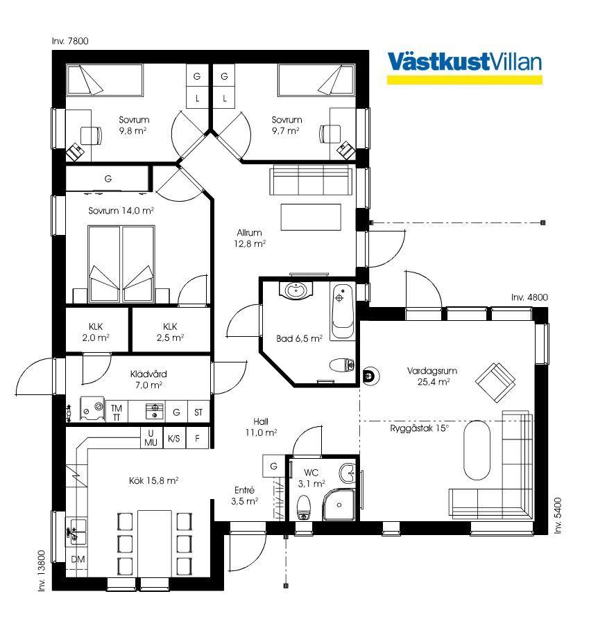 Schwedenhaus Eingeschossig Skandihaus 128 Grundriss Grundrisse