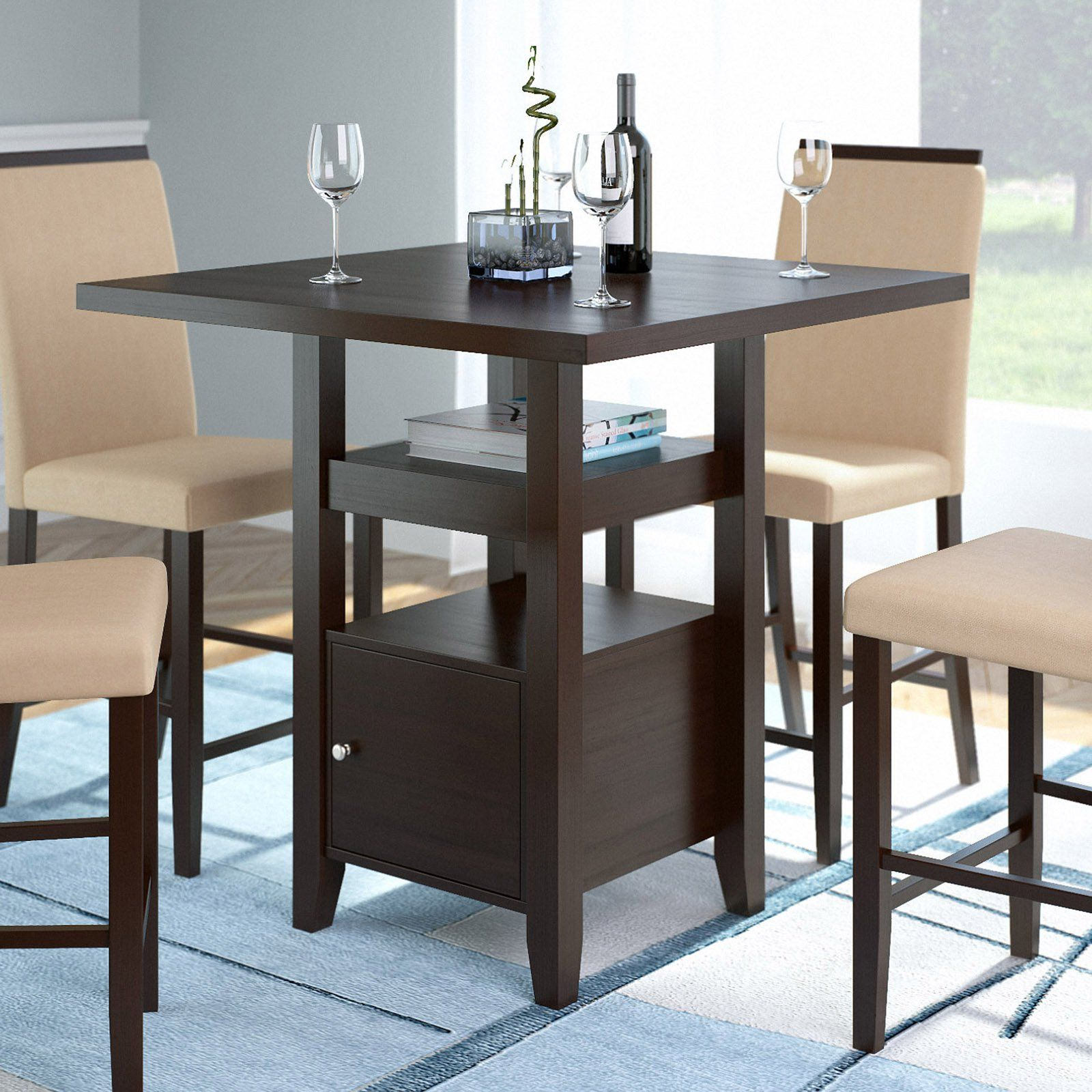 Corliving Bistro Counter Height Dining Table With Cabinet Cappuccino Counter Height Dining Table Counter Height Table Pub Table Sets