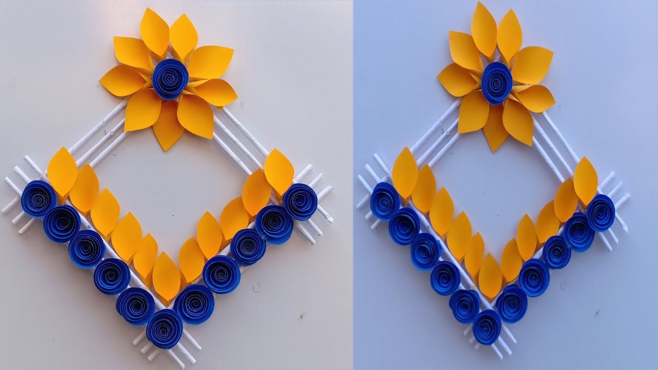 Diy Paper Flower Wall Hanging Diy Art And Craft Easy Wall Decoration Ideas Paper Crafts Diy Diy Paper Flower Wall Paper Crafts Diy Tutorials