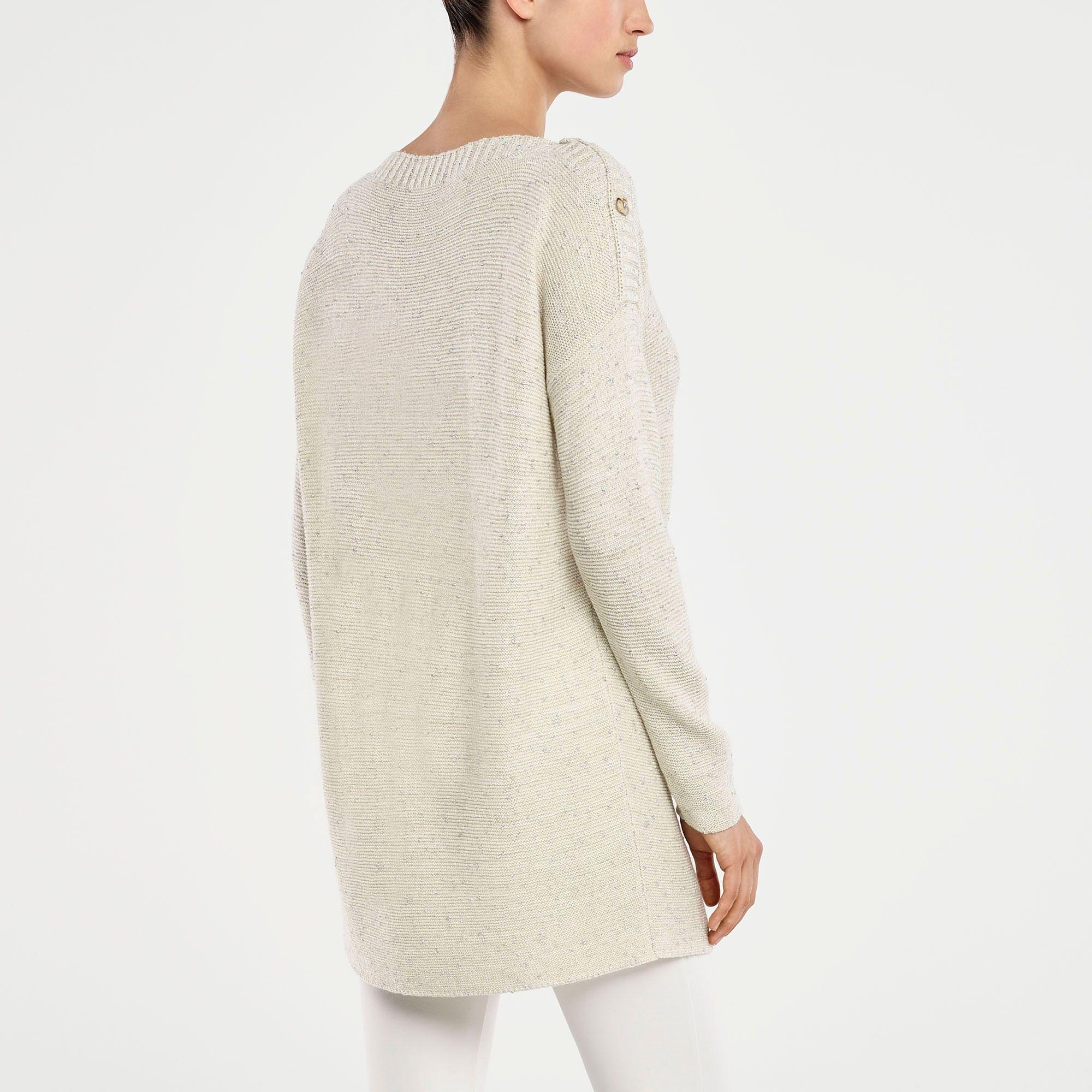 Gebroken witte lange trui glanzende stof Sarah Pacini