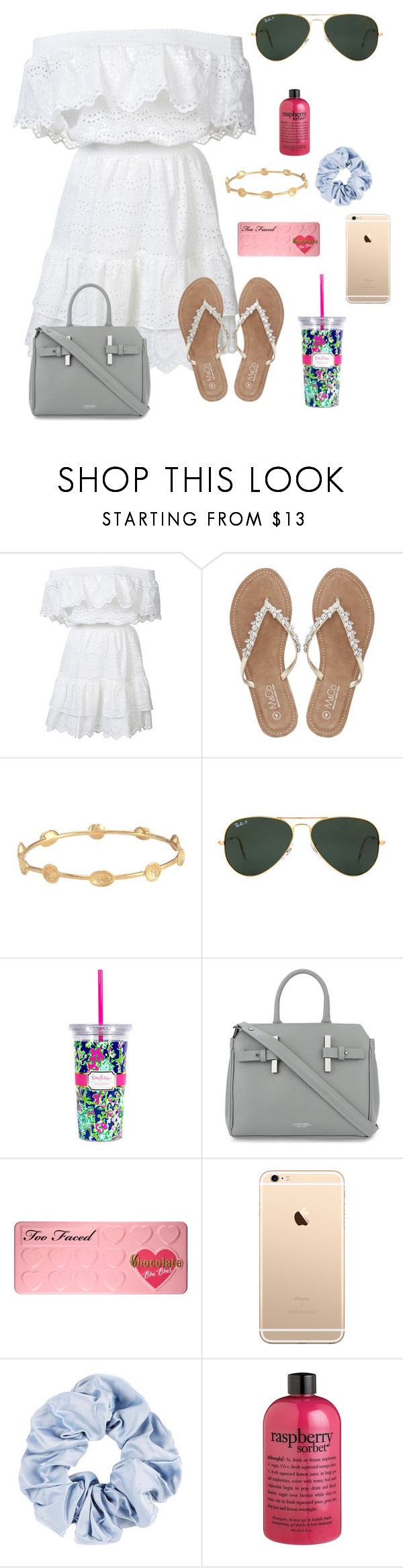 """""""In cape cod!!"""" by zoejm ❤ liked on Polyvore featuring LoveShackFancy, M&Co, Melinda Maria, Ray-Ban, Lilly Pulitzer, Estemporanea, Too Faced Cosmetics and philosophy"""