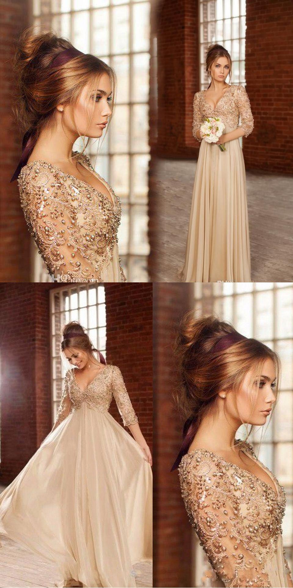 Chiffon prom dresseschampagne prom dressmodest prom gownpearl