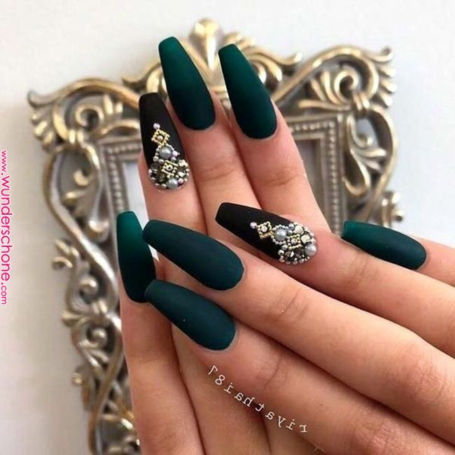 46 Cute Green Nail Art Designs Ideas To Try Nails Art Coffin Nails Matte Green Nails Green Nail Art Dark Green Nails Green Nail Designs Green Nails