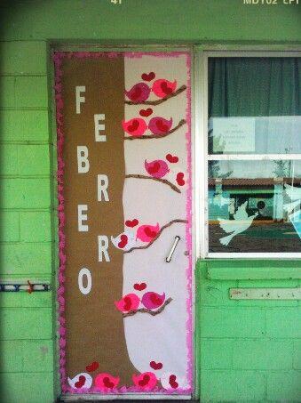Puerta para Febrero Pajaritos enamorados