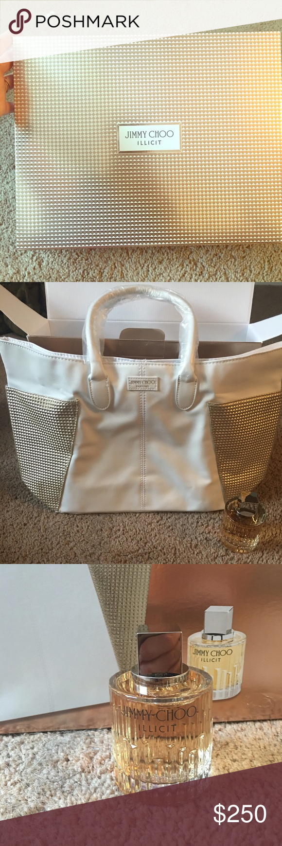 Jimmy Choo Bundle !!! A gorgeous NWT White leather and gold pleet Jimmy Choo tote with the newest perfume (perfume alone retails for over $120) called Illicit! This is a gorgeous duo bundle and you can grab it for your own here! Very hard to find! WILL SEPARATE ***TAKING OFFERS*** NOTE: NO LOWBALLING please be considerate, and NO trades on NWT items! Jimmy Choo Bags Totes