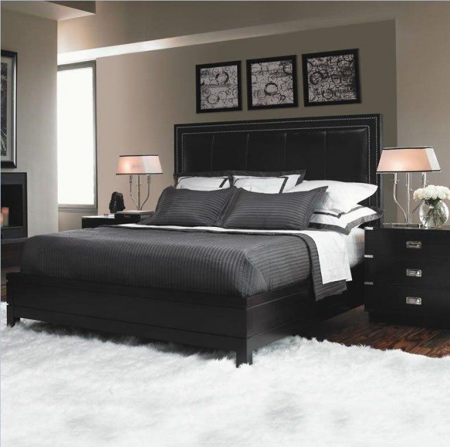 Outstanding Ikea Bedroom Furniture Design With Black Leather Headboard Bed Along Dark Gray Covered Bedding And Cute Pillow Plus Two Wood Drawer