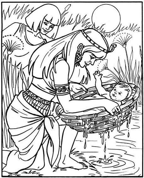 mosè_nascita_20.gif (458×566) | Historias Bíblicas para colorear