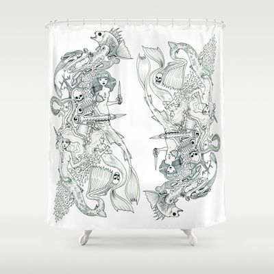 Mermaid Kingdom (Wonderful Mess Series) Shower Curtain by Dan Paul Roberts - $68.00