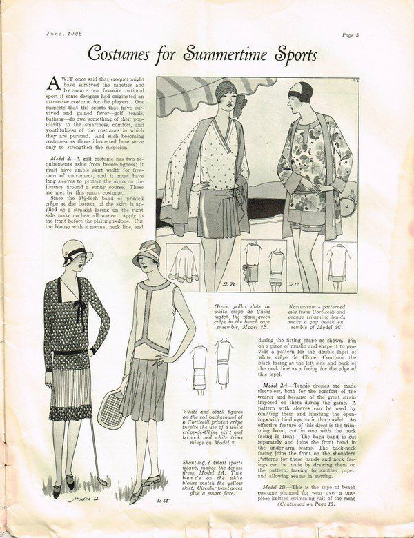 1920s Fashion Service Magazine June 1928 Bathing Suit