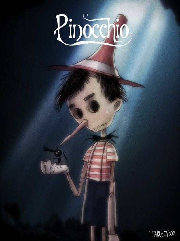 Pinocchio: Diese Version sieht furchterregend schön aus. | So würden Disney-Filme aussehen, wenn Tim Burton Regie geführt hätte