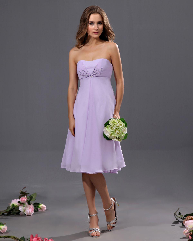 Chiffon short bridesmaid dresses brittany bridges simple and cheap a line strapless tea length chiffon bridesmaid dress ombrellifo Images