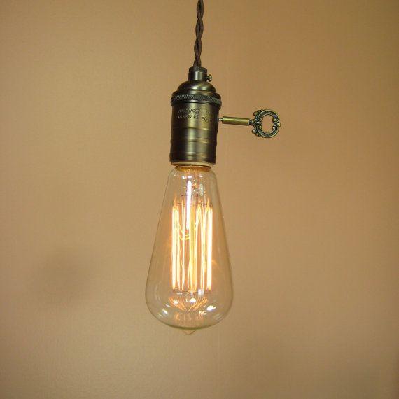 Farmhouse Style Minimalist Bare Bulb Pendant Light With