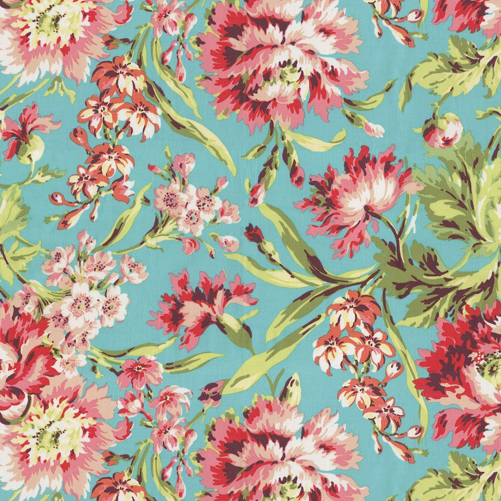 Coral and teal floral fabric by the yard carousel for Floral nursery fabric