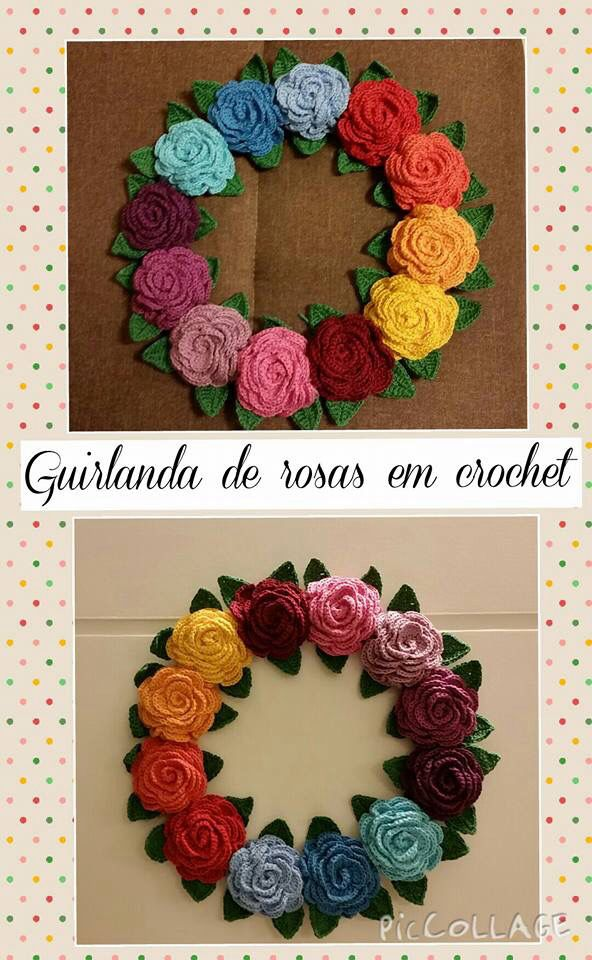 Guirlanda de rosas feita utilizando a técnica do crochet.