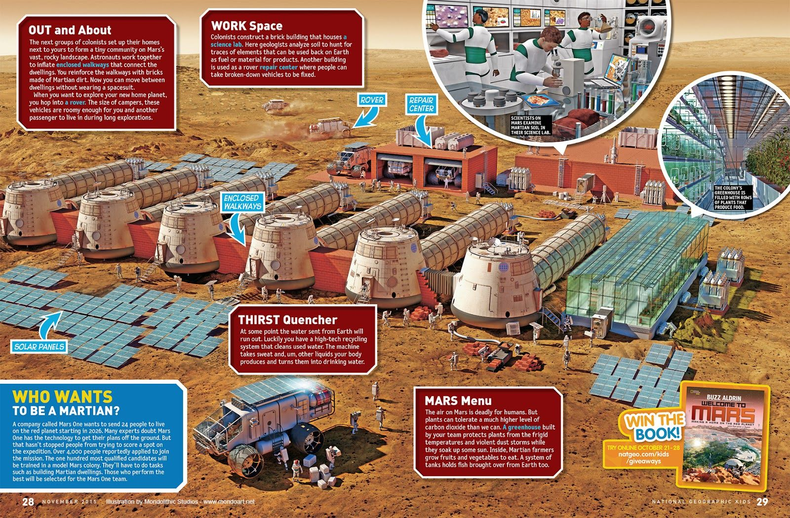 Mars base illustrations for National Geographic Kids ...