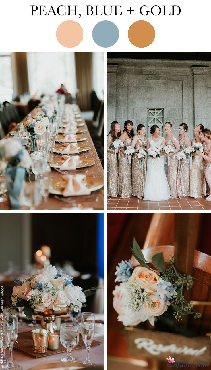 Peach, Blue, and Gold Wedding Color Scheme
