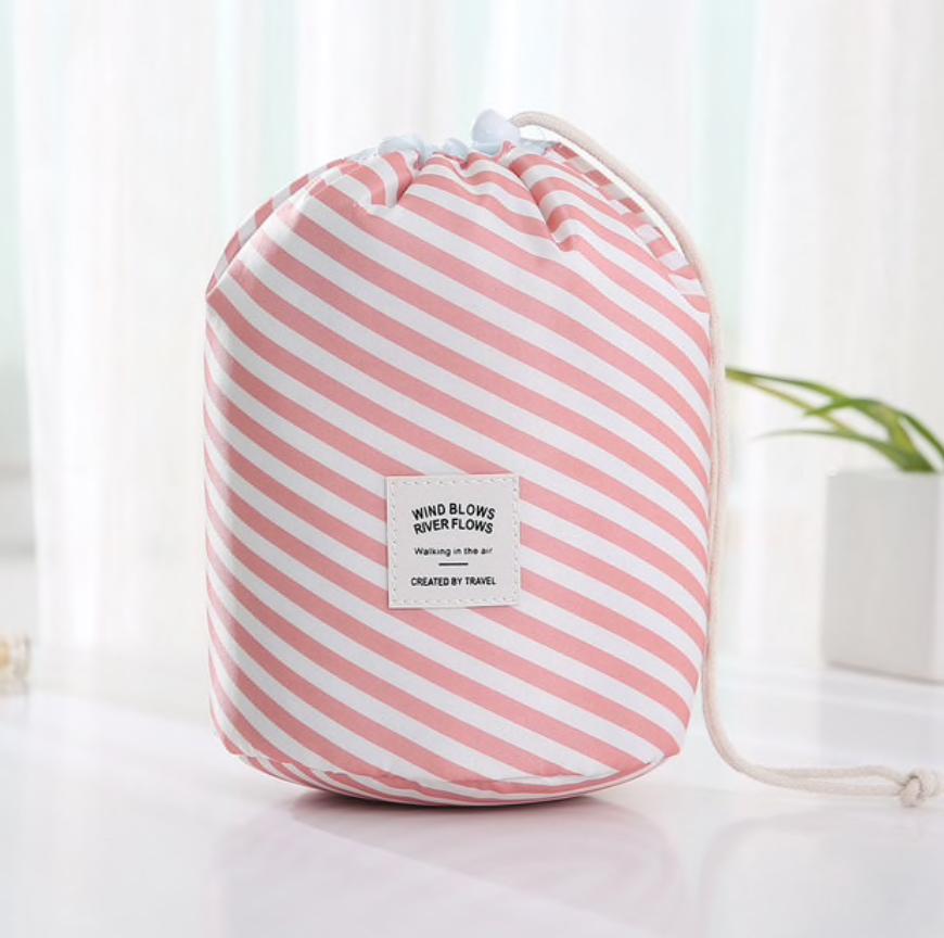 Wasserdichter Make-up-Beutel und Tasche – Pink Stripes