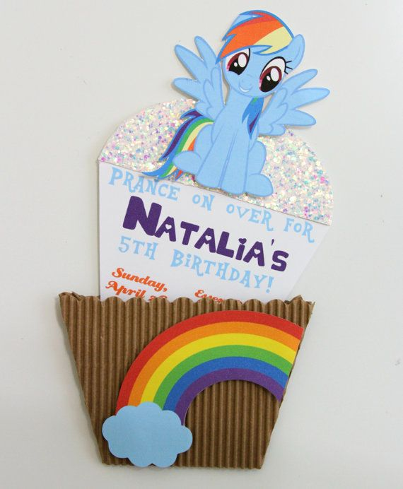 My Little Pony Invitation Character Cupcake By Thecraftytees