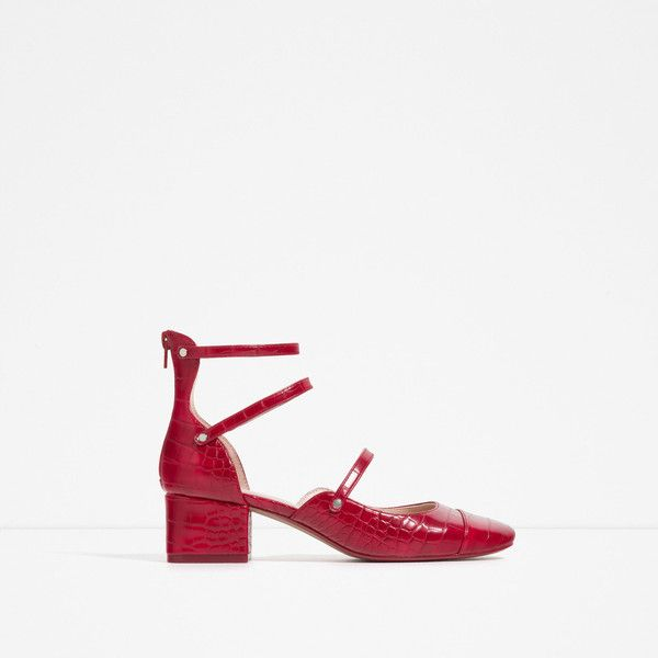 Zara Mid Heel Shoes With Straps (€45) ❤ liked on Polyvore featuring shoes, red, red mid heel shoes, strappy shoes, red strap shoes, zara footwear and mid heel shoes