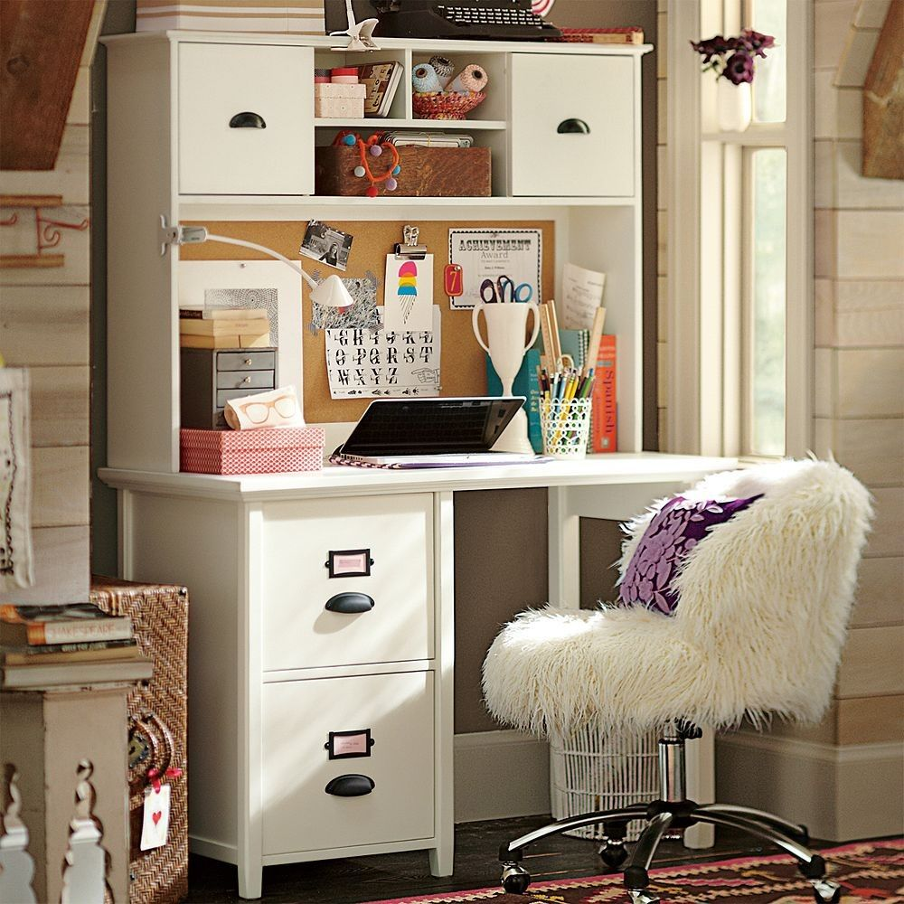 Delightful Girly White Cupboard Desk With The Fuzzy Chair