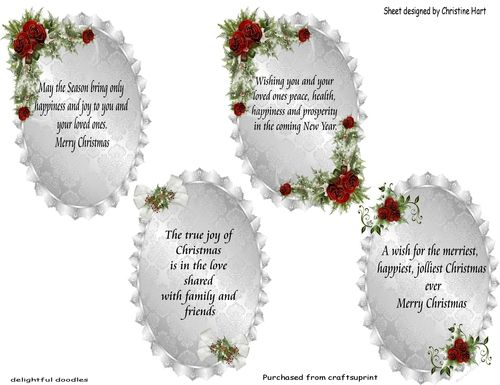 Four Assorted Verses For Cards Especially For Christmas Can Also