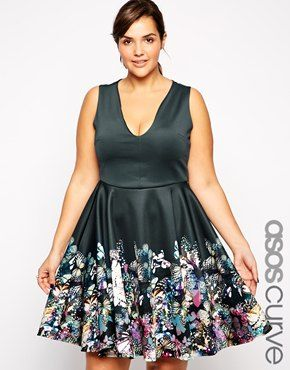 Enlarge ASOS CURVE Exclusive Fit & Flare Dress In Border Butterfly Print