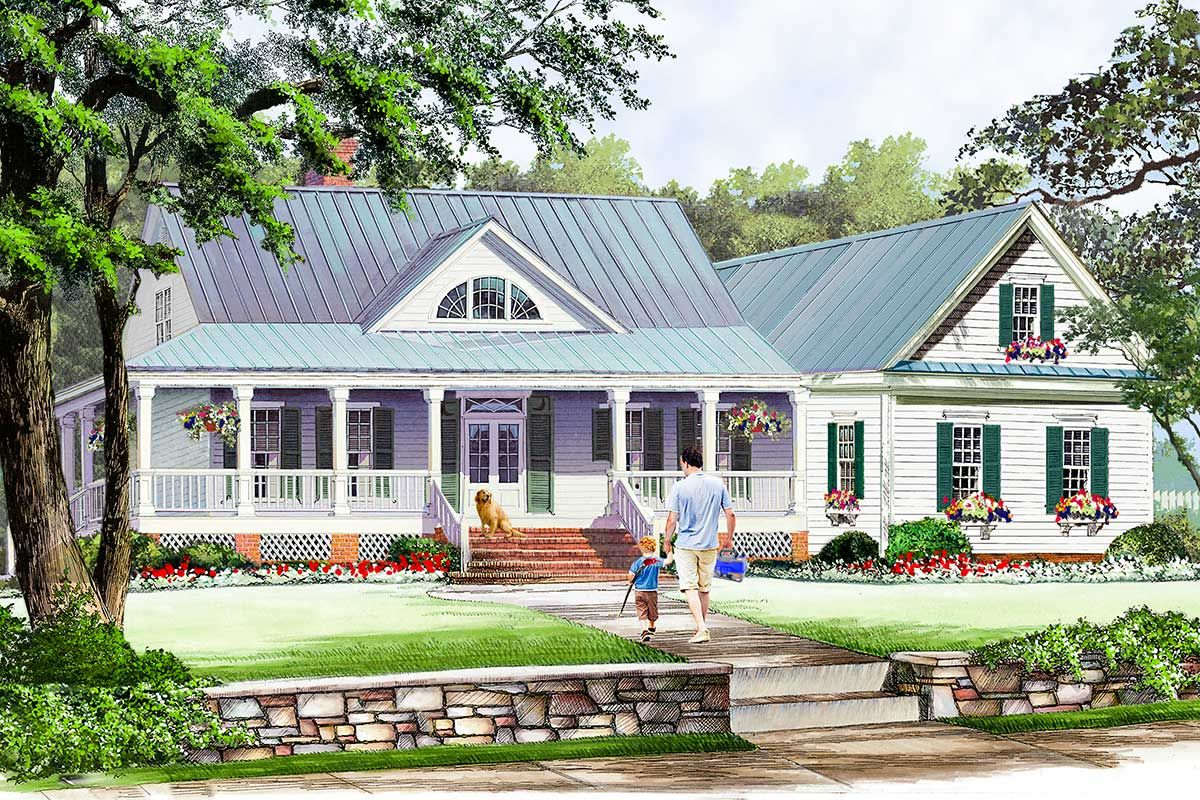 Plan 32640wp Country Cottage With Wraparound And Bonus Room Country Style House Plans Country House Plans Two Story House Plans