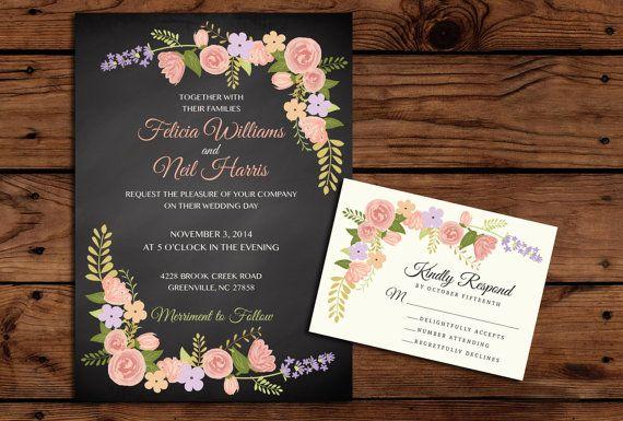 Printable Wedding Invitation and RSVP Bundle by SomebodyLovedShop, $35.00