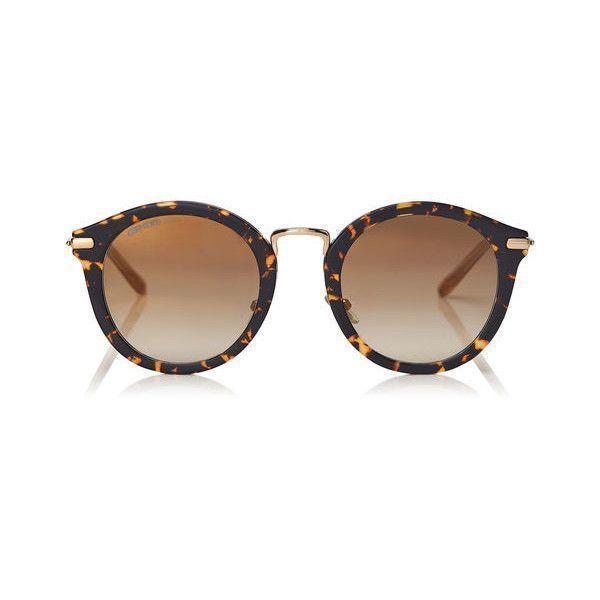 Dark Havana Round Frame Sunglasses with Gold Mirror Lenses BOBBY ...