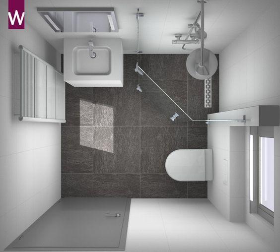 Kleine badkamer in 3D. Ontwerp je eigen badkamer op http://kleineba ...