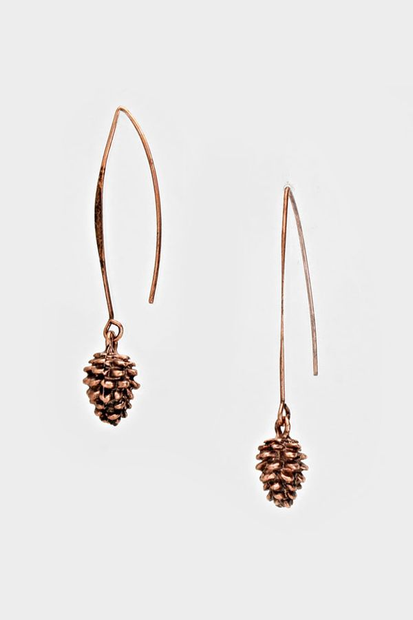 Coppery Pinecone Earrings   Women's Clothes, Casual Dresses, Fashion Earrings & Accessories   Emma Stine Limited