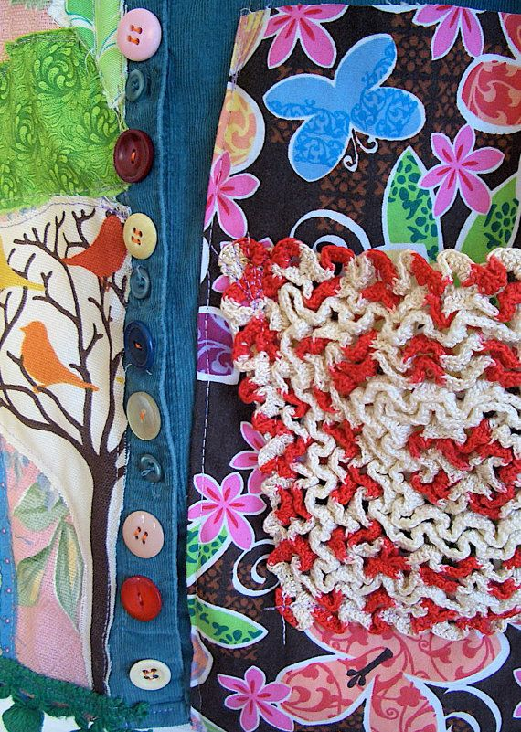 FABRIC SCRAPS APPLIQUE pATCHWORK Wearable Collage Folk by MyBonny