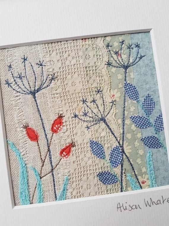 Abstract Floral Slow Stitch Embroidered Greeting Card