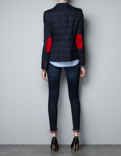 blazer en laine carreaux avec coudi res vestes femme. Black Bedroom Furniture Sets. Home Design Ideas