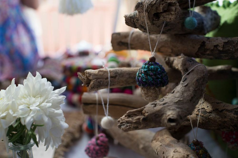 """""""Button"""" mushroom decorations for Christmas, children/s/ baby rooms or simply all year round. Handmade in Nepal from hemp fibres #christmas #sustainable #decoration #natural"""