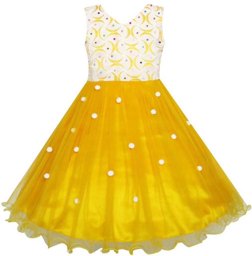 Yellow dress knee length  Flower Girls Dress Lace Pearl Dimensional Flowers Pageant Wedding