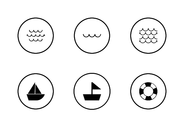 Sea Circle Outline Icons By Guilhem Menard In 2020 Circle Outline Outline Circle