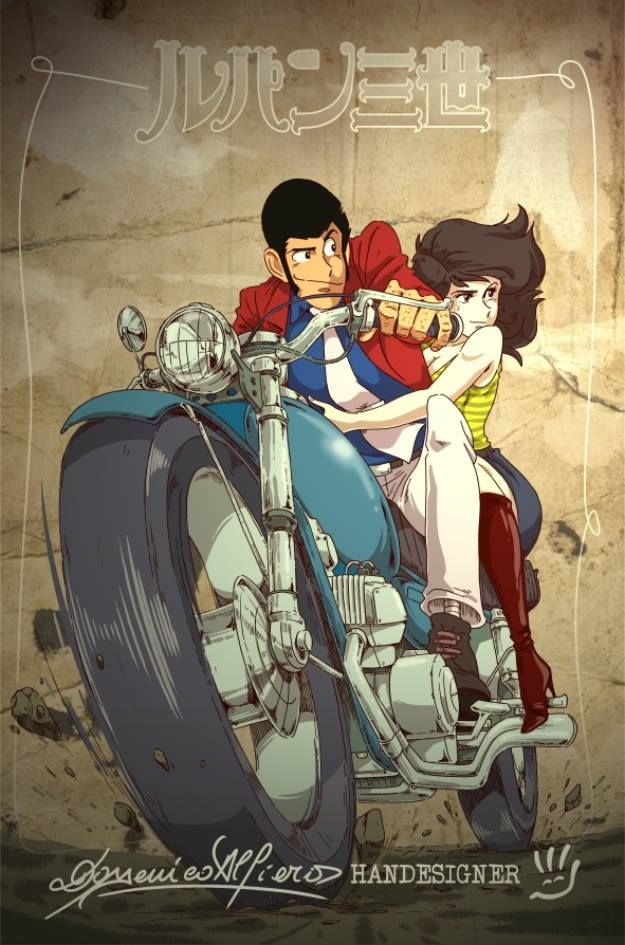 Handesigner lupin e fujiko on motorbike by handesigner on deviantart