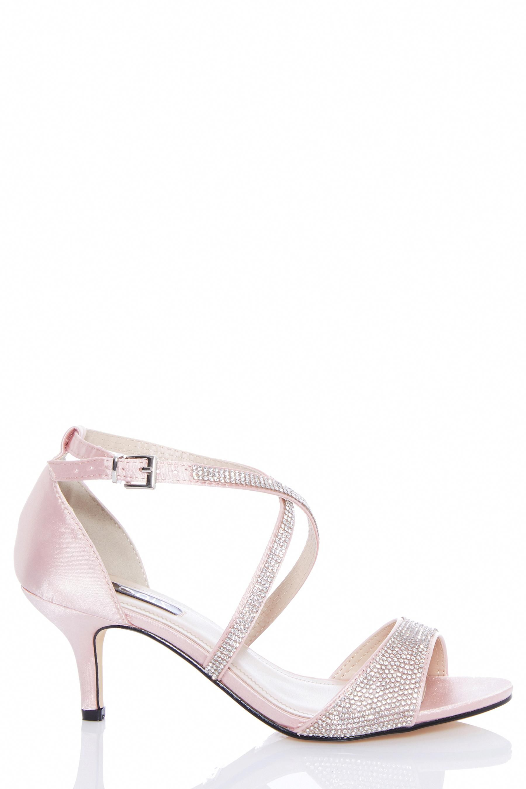 10e9d8aafd162 Womens Quiz Diamanté Low Heeled Sandals - Pink #SandalsHeels ...