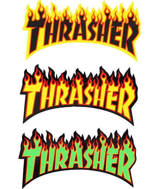 Thrasher Flame Logo Sticker Zumiez Thrasher Brand Stickers Thrasher Flame