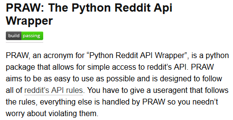 PRAW - Python Wrapper for the Reddit API : | Comp Ling in 2019